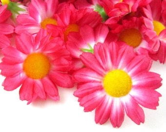 25 Dark Pink Gerbera Daisy Heads - Artificial Silk Flowers - 1.75 inches - Wholesale Lot - for Wedding work, Make Hair clips, hats