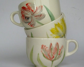 Sale - Big handpainted earthenware mug - Tulips
