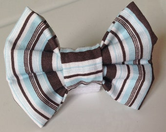 Blue & Brown Striped Collar Bow Tie for Male Dog