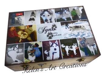 Pet Memorial Collage Box, Pet Keepsake Box, Dog Urn, X-Large Wood Urn, Personalized Keepsake Box, Photo Collage, Custom Pet Photo