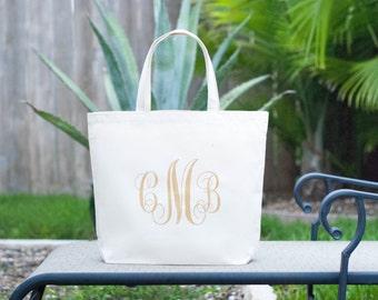 Personalized Custom Gold Monogram Large Canvas Bag, Market Bag, Wedding Bag, Beach Bag, Beach Tote, Bridesmaid Bag, Bridesmaid Gift