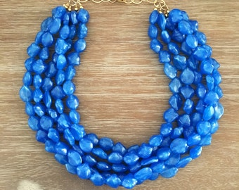 Blue Bead Necklace - Chunky Beaded Statement Necklace MultiStrand Blue
