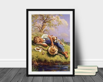 Boy's Room Art Print, Dog Art Print, Nursery Art Print, Family Room Art, Kitchen Art, Guest Room Art,  Restored Art Print #478 FREE SHIPPING