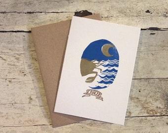 Cancer the Crab zodiac letterpress linocut card