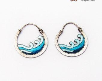Enamel Weave Motif Openwork Earrings Sterling Silver