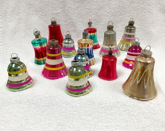 14 Vintage Christmas Bells Collection of Ornaments Blown Glass Colorful Variety of Stripes and Solid Designs Shiny Brite/Germany/Made in USA