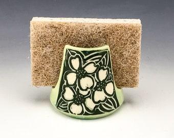 Sgraffito Ceramic Dogwood Spongeholder in Green and White