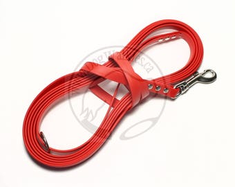 "Poppy Red -   Waterproof Long Line - 1/2"" (12mm) wide Genuine Biothane - Tacking Line Recall Leash - Choice of hardware and length"