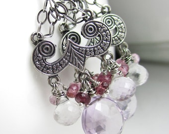 Pink and Purple Posies Earrings - Sterling Chandeliers, Pink Amethyst, Quartz, and Pink Tourmaline