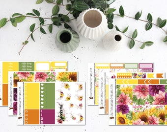 Sunflower Sunset || Weekly Planner Kit (175+ Stickers) || Erin Condren, Happy Planner, Recollections, No White Space || SeattlekangarooPlans