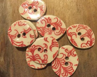 FREE SHIPPING Set of 7 Handmade Ceramic Buttons - Red Floral