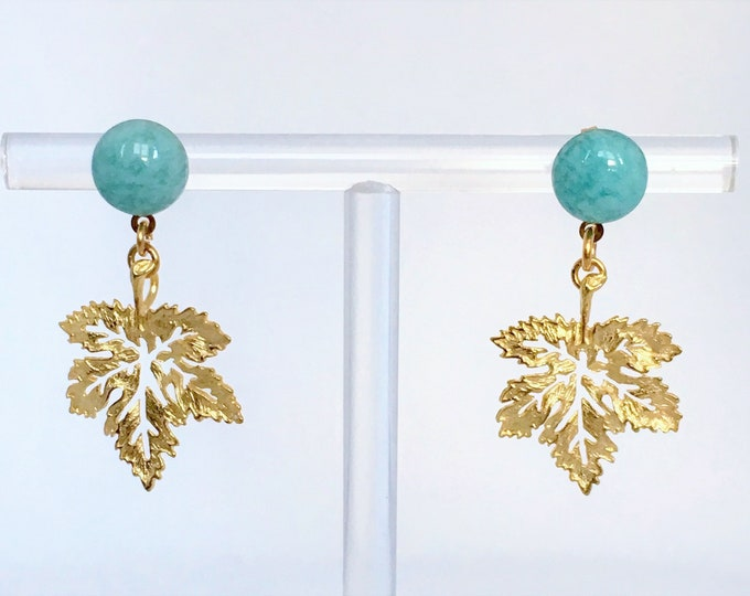 Amazon stone and leaf golden drop earrings