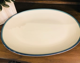 Pfaltzgraff Large Oval Platter In Northwinds - Stoneware, Blue And Green Bands - 14 Inch