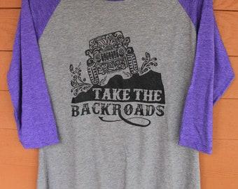 """JEEP """"Take the Backroads"""" Tribal Tattoo LADIES Tri-Blend Raglan 3/4 Sleeve T-Shirt (xs-xl)"""