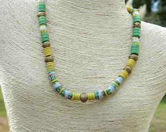 African Trade Bead Disc and Krobo Bead Choker Necklace