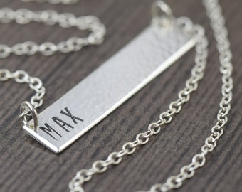 nameplate necklace personalized bar necklace custom name jewelry sterling silver necklace gifts for her