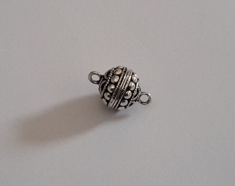 1 Solid Sterling Silver one of its kind Bali Magnetic Clasp Set Beads (3 models)