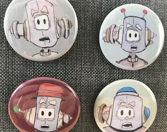 """JunkBot Series 00000111 PinBack 1.5"""" buttons (Set of 4 buttons)"""