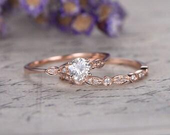 2pcs Round Moisssanite bridal ring set,diamond engagement ring,solid 14k ROSE gold,Stacking matching band,marquise design,Half eternity