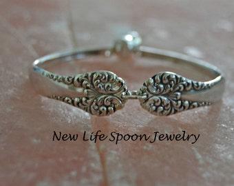 "Spoon Bracelet ""Leonora"" Silverware Jewelry Flatware Jewelry Handmade Gift Wedding Valentine Gift Mother's Day Fork Jewelry--353"