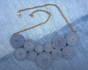 Light blue Denim necklace eco