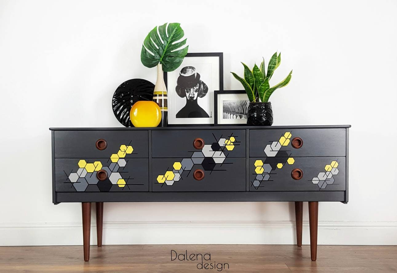 Mid Century Modern Retro Style  Hand Painted Geometric Sideboard/Chest of Drawers