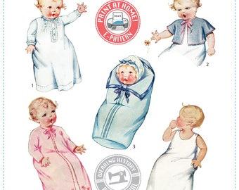 E-Pattern- 1930s Baby Layette-  Dress Slip Jacket - Wearing History PDF Vintage Sewing Pattern