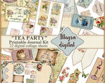 Printable, Journal Kit, Tea Party, Junk Journal Kit, Tea Ephemera, Victorian, Ephemera Pack, Journal Pages, Tea Party, Digital Paper