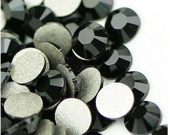 1440pcs Jet Black Flat back Crystal Rhinestones Non Hotfix 2mm 3mm 4mm 5mm 6mm