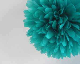 TEAL tissue paper pompom / fiesta wedding decorations / luau engagement party bridal baby shower / mermaid first birthday aisle marker poms