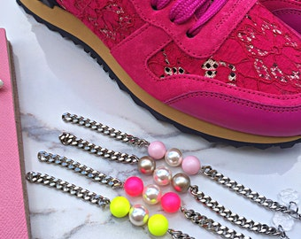 COCCOS PEARLS Bracelet || Swarovski Pearl | Bracelet || Curb Chain || Platinum || Neon Pink || Neon Yellow || Pastel Rose