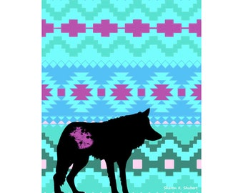 Wolf Art, Native American Totem Animal, Southwestern Home Decor, Digital Silhouette, Blue Black, Wall Hanging, Giclee Print, 8 x 10
