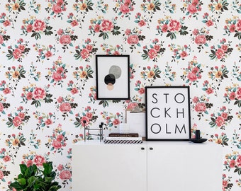 Floral Self adhesive vinyl wallpaper - Flower pattern print  - 155