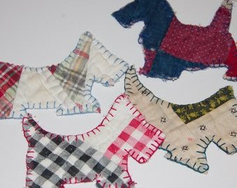 ornaments Scottie dogs Quilted antique  cutter quilt  gingham red black white, red gray plaids and red white and blues scotties decor fabric