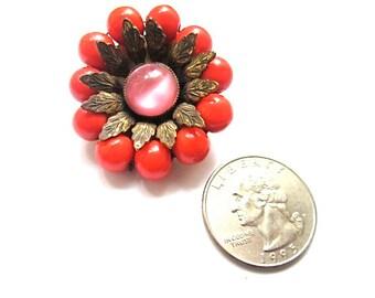 Vintage Hattie Carnegie Coral and Pink Brooch Pin 1940s