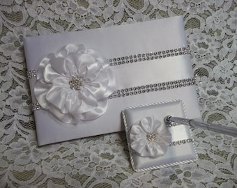 White Satin Wedding Guest Book with White Flower and Rhinestone Mesh Trim & Pen Set