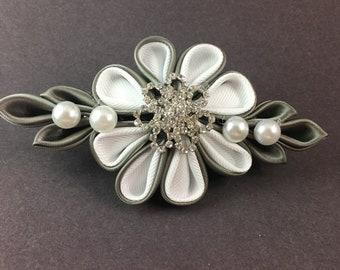 Kanzashi - silver white