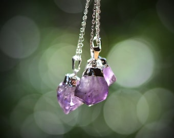 Silver Amethyst Necklace // Silver Dipped Quartz Necklace // Raw Amethyst Necklace // Raw Stone Necklace // Healing Crystal Necklace Silver