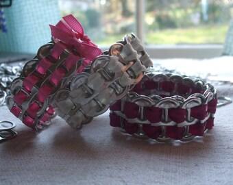 Bracelet Set of 3 Women's Cuff ExpandaBangle Tab Top Bangle Set of Three Free Key Chain