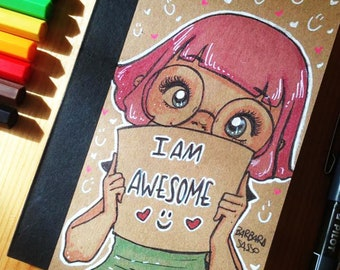 "Travel Notebook ""I Am Awesome"" hand illustrated"
