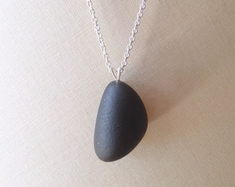 Sea Glass Jewelry Pendant. Antique Black Genuine Sea Glass. Sea Glass Necklace. Beach Glass Pendant Necklace. Black Pendant. Gift For Her.