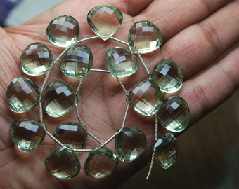 3 maths pair,SUPER Quality Natural Green Amethyst Faceted Heart Briolettes, Size 16mm, 3 maths pair,