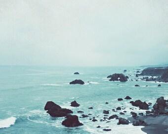 """Blue Beach Photograph, Aqua Blue Wall Art, California Beach, Rustic Beach Decor, Ocean Waves Wall Art  """"Dusk at the Sea"""""""