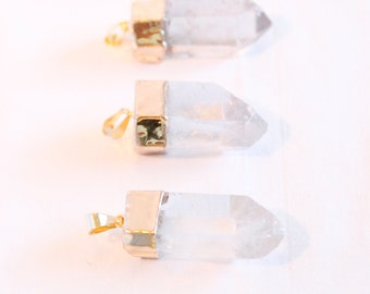 Quartz Point Pendant - Gold Plated - Dipped Quartz - Jewelry Supplies - Wholesale Crystal Quartz Point Clear Quartz Bulk Pendants / G-SP001
