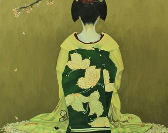 Original oil painting on canvas board, Free shipping, Japanese art, Unframed, Maiko, Kimono, Cherry blossom