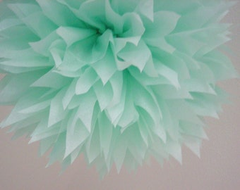 COOL MINT tissue paper pom pastel wedding decorations seafoam green first birthday party baby bridal shower chair back aisle arbor arch mark