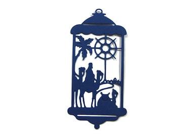 Detailed Paper Nativity Lantern Silhouette Die Cut Set of 8