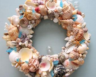 Nautical Decor Seashell Wreath, Beach Decor Shell Wreath, Coastal Wreath, Beach Home Decor, Coastal Home Decor, WITH SEAGLASS