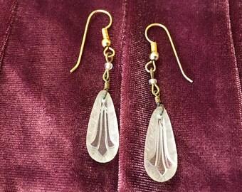 Carved Glass Earrings