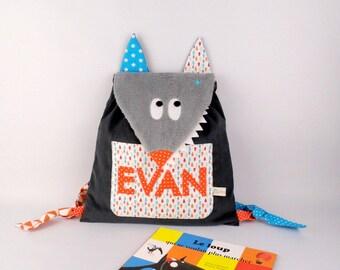 Sac à dos enfant maternelle personnalisé prénom Evan bleu orange tête de loup sac enfant école maternelle sac bébé crèche idée cadeau bébé